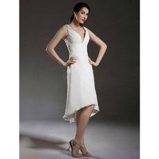 Affordable V-Neck High-Low Chiffon Short Petite Wedding Dresses