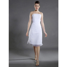 Informal A-Line Strapless Knee Length Short Petite Wedding Dresses