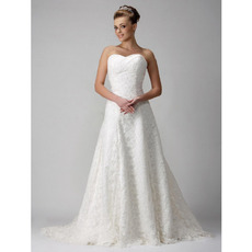 A-line Sweetheart Chapel Train Satin Lace Wedding Dress