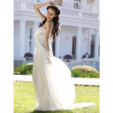 Romantic & Elegant A-line Strapless Court Train Flower Chiffon Satin Summer Garden Wedding Dress