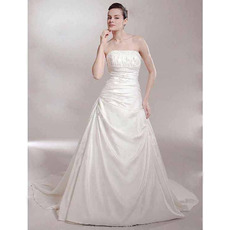 A-line Strapless Chapel Train Sleeveless Satin Luxurious Wedding Dresses
