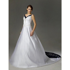 Inexpensive Vintage A-Line V-Neck Court Train Satin Wedding Dresses