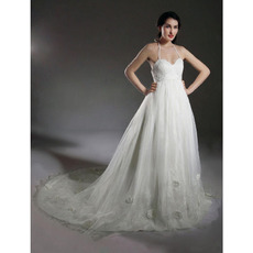 Ball Gown Halter Court Train Taffeta Wedding Dress With Beaded Appliques