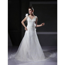 Custom A-Line V-Neck Court Train Satin Organza Wedding Dresses