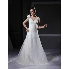 Custom A-Line V-Neck Court Train Satin Organza Wedding Dresses