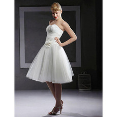 Custom A-Line Sweetheart Sleeveless Knee Length Short Wedding Dresses