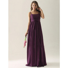 Elegant Spaghetti Straps Floor-Length Chiffon Bridesmaid Dresses
