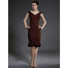 Sheath/ Column V-neck Knee-length Chiffon Matte Satin Mother of the Bride Dress