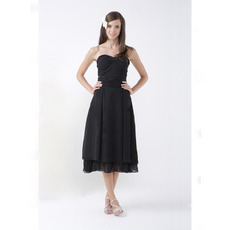 Vintage Tea-Length Sweetheart Black Chiffon Bridesmaid Dresses