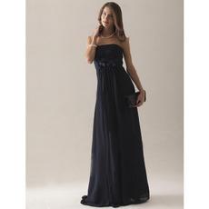 Custom Strapless Floor Length Chiffon Bridesmaid/ Wedding Party Dresses