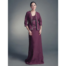 Discount Column Mother of the Bride Dress with Jacket/ Floor Length Chiffon Grape Mother of the Groom Dress