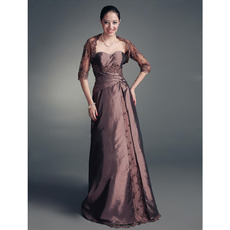 Discount A-Line Mother of the Bride Dress with Jacket/ Floor Length Lace Chocolate Mother of the Groom Dress