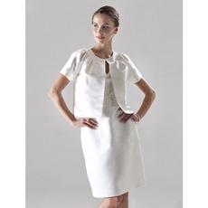 Winter Column V-Neck Knee Length Satin Bridesmaid Dresses with Jackets