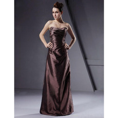 Winter Strapless Column Floor-Length Taffeta Bridesmaid Dresses