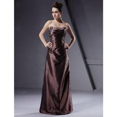 Winter Strapless Column Floor-Length Taffeta Bridesmaid Dresses