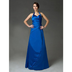 Inexpensive Halter Satin Long Winter Bridesmaid/ Wedding Party Dresses