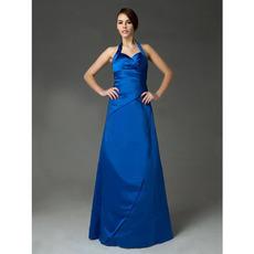 Inexpensive Halter Satin Long Winter Bridesmaid/ Wedding Party Dresses