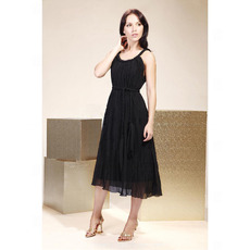 Inexpensive Sexy Straps Tea Length Chiffon Black Bridesmaid Dresses