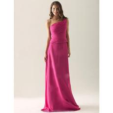 Affordable Custom One Shoulder Chiffon Floor Length Bridesmaid Dresses