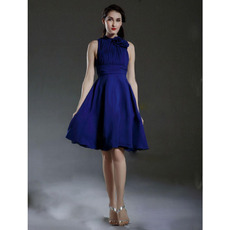 Affordable Sexy High-Neck Short Royal Blue Chiffon Bridesmaid Dresses