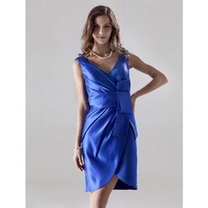 Sexy Sheath V-Neck Satin Short/ Mini Bridesmaid/ Wedding Party Dresses