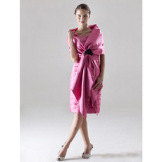 Sheath Pleated Square Short Satin Winter Bridesmaid Dresses with Wraps
