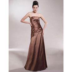 Winter A-Line Strapless Floor-Length Satin Bridesmaid Dresses