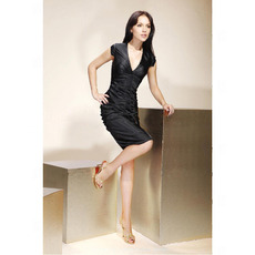 Sheath/ Column V-Neck Knee-Length Capped Elastic Woven Satin Cocktail Dresses