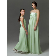 Affordable Empire Strapless Chiffon Floor Length Bridesmaid Dresses