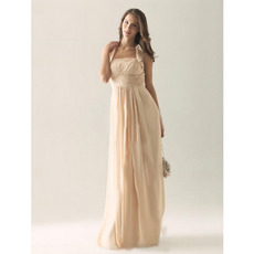 Discount Elegant Halter Sleeveless Long Chiffon Bridesmaid Dresses