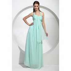 Affordable Sexy Empire Halter Chiffon Floor-Length Bridesmaid Dresses