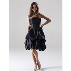 Ball Gown Black Strapless Short Bridesmaid/ Wedding Party Dresses