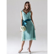 Custom Chiffon Sweetheart Knee Length Bridesmaid Dresses with Sashes