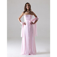 Discount Elegant Pink Chiffon Strapless Floor Length Bridesmaid Dresses