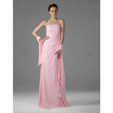Elegant Column Strapless Pink Chiffon Floor-Length Bridesmaid Dresses