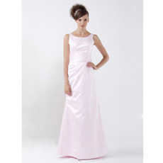 Simple Long Pink Satin Winter Bridesmaid/ Wedding Party Dresses