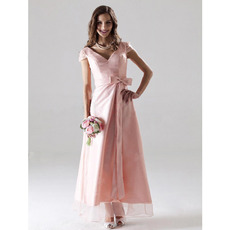 Simple V-Neck Short Sleeves Tea-Length Satin Bridesmaid Dresses
