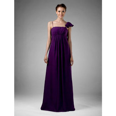 Empire Spaghetti Straps Asymmetric Long Chiffon Bridesmaid Dresses