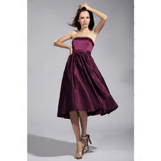 Discount Strapless Knee-Length Satin Bridesmaid/ Wedding Party Dresses