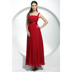 Affordable Square Neck Red Chiffon Long Bridesmaid Dresses with Straps