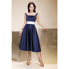 Straps Square Knee-Length Satin Bridesmaid/ Wedding Party Dresses
