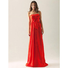 2015 Style Custom Red Strapless Floor Length Satin Bridesmaid Dresses