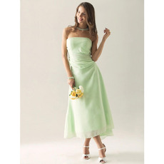 Custom Tea Length Asymmetric Strapless Chiffon Bridesmaid Dresses