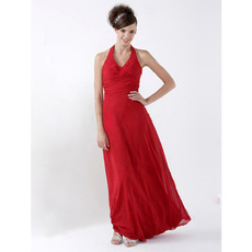 Custom Halter V-Neck Chiffon Red Long Bridesmaid/ Wedding Party Dresses