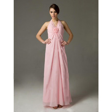 Affordable Custom Halter Chiffon Floor Length Pink Bridesmaid Dresses