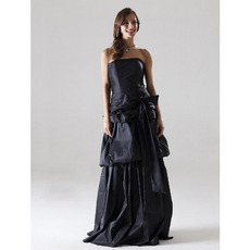Custom Strapless Floor-Length Black Taffeta Winter Bridesmaid Dresses