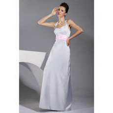 Sexy Halter Floor-Length Satin Winter Bridesmaid Dresses with Sashes