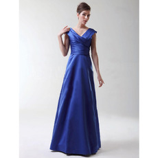 A-Line V-Neck Floor-Length Satin Bridesmaid Dresses for Winter Wedding