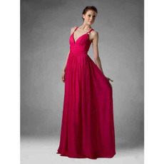 Sexy Spaghetti Straps Sweetheart Long Chiffon Bridesmaid Dresses