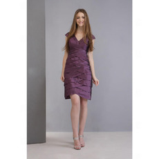 A-Line V-Neck Knee-Length Taffeta Homecoming/ Cocktail Dresses